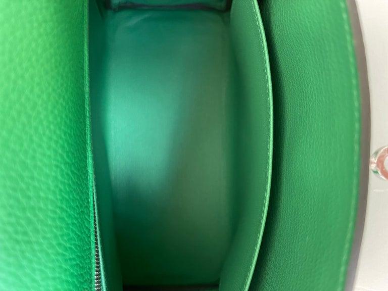 Hermes Kelly 25 Bamboo Bag Togo Palladium For Sale 3