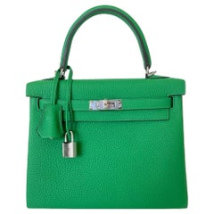 Hermes Kelly 25 Bamboo Bag Togo Palladium