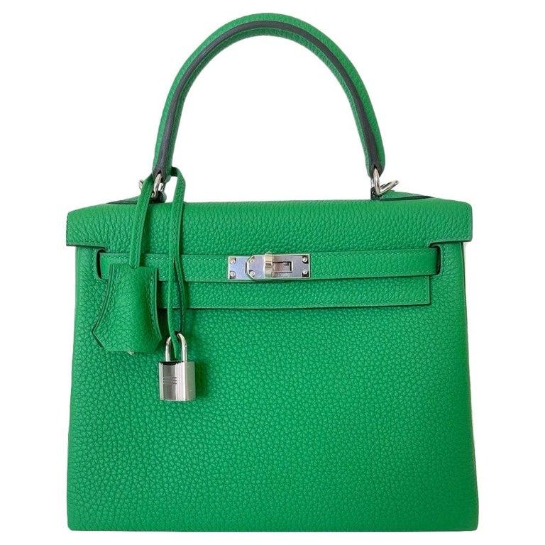 Hermes Kelly 25 Bamboo Bag Togo Palladium For Sale