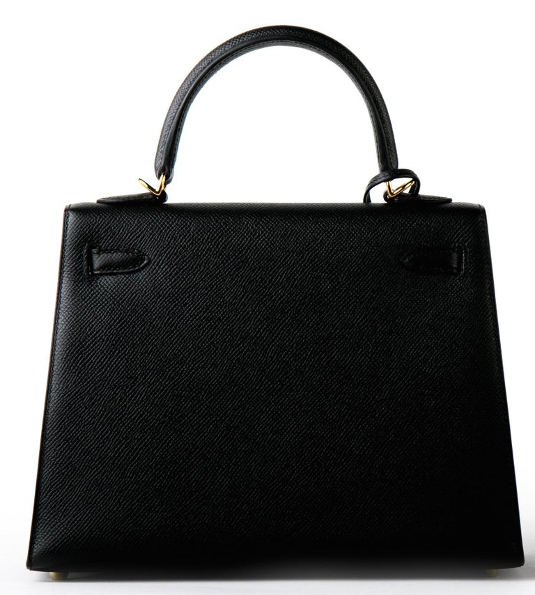 Hermes 25cm Kelly Hermes Kelly 25cm Never worn, plastic on the hardware including shoulder strap hardware One of the hottest bags in the market right now Epsom in size 25 Sellier, almost impossible to find We have it!  Black Gold Hardware Epsom