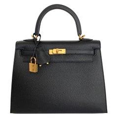Hermes  Kelly 25 Black Epsom Sellier Bag Gold Hardware