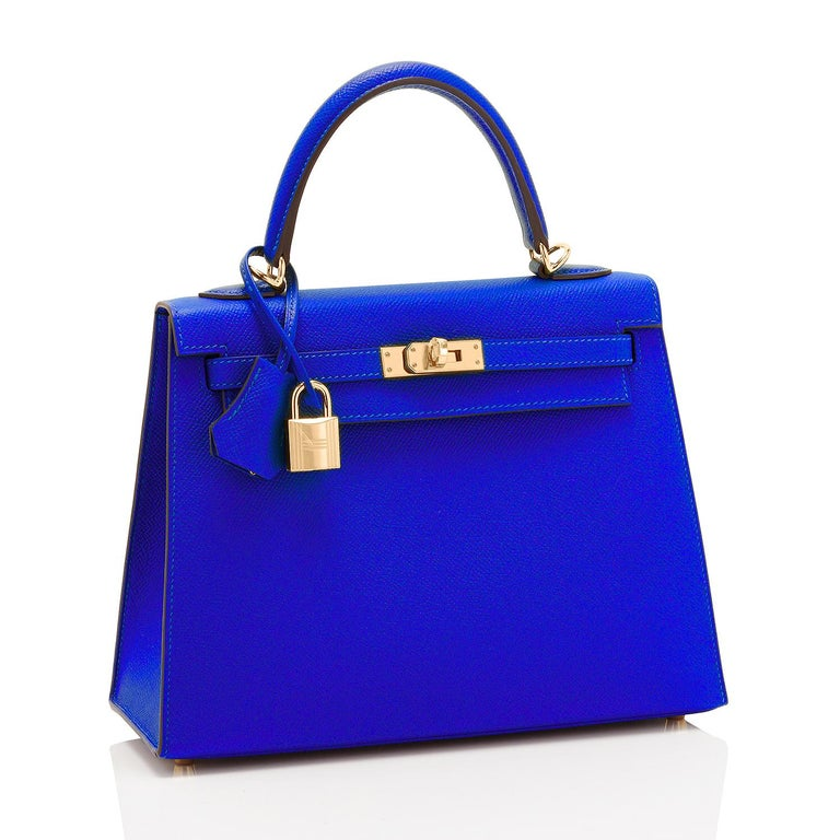 Hermes Kelly 25cm Blue Electric Epsom Sellier Gold Hardware NEW RARE Brand New in Box. Store Fresh. Pristine Condition (with plastic on hardware).  Perfect gift!  Comes full set with keys, lock, clochette, shoulder strap, sleeper, rain protector,