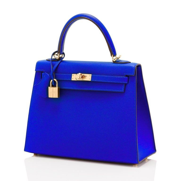 Hermes Kelly 25 Blue Electric Epsom Gold Sellier Shoulder Bag NEW ULTRA RARE In New Condition For Sale In New York, NY