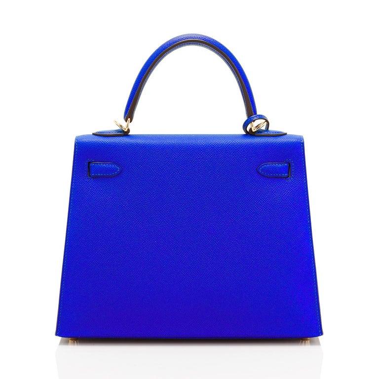 Women's Hermes Kelly 25 Blue Electric Epsom Gold Sellier Shoulder Bag NEW ULTRA RARE For Sale