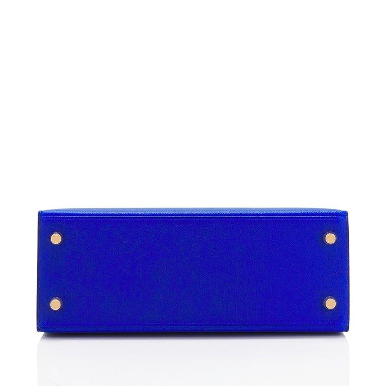 Hermes Kelly 25 Blue Electric Epsom Gold Sellier Shoulder Bag NEW ULTRA RARE For Sale 1