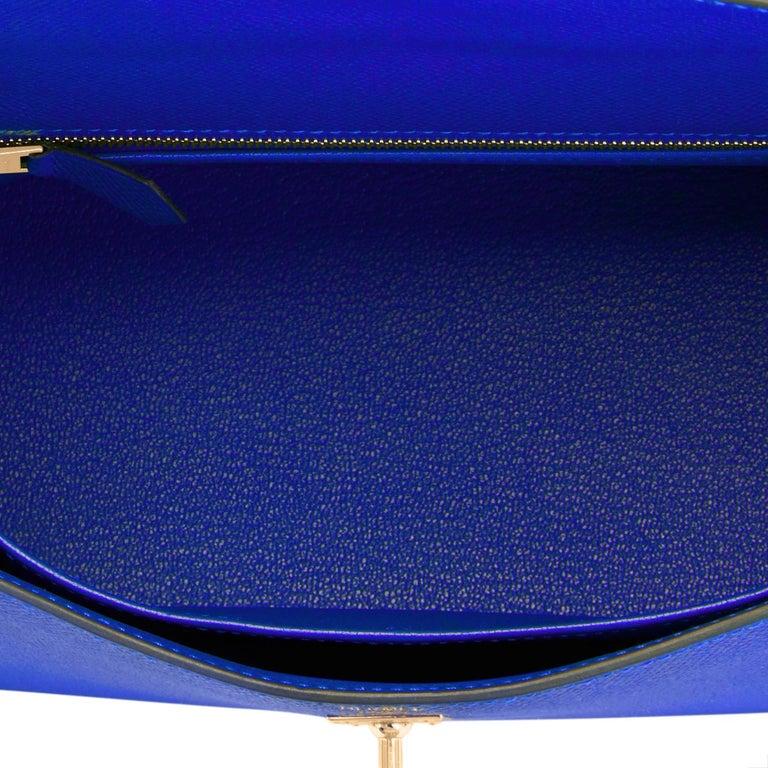 Hermes Kelly 25 Blue Electric Epsom Gold Sellier Shoulder Bag NEW ULTRA RARE For Sale 2