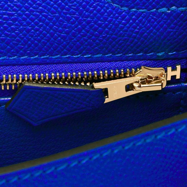 Hermes Kelly 25 Blue Electric Epsom Gold Sellier Shoulder Bag NEW ULTRA RARE For Sale 3