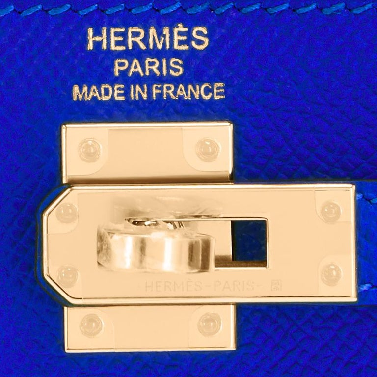 Hermes Kelly 25 Blue Electric Epsom Gold Sellier Shoulder Bag NEW ULTRA RARE For Sale 4