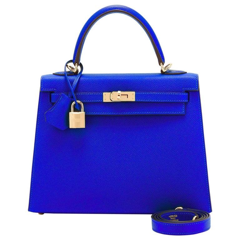 Hermes Kelly 25 Blue Electric Epsom Gold Sellier Shoulder Bag NEW ULTRA RARE For Sale