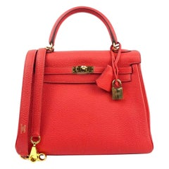 Hermes Kelly 25 Bougainvillea Red Pink With Gold Hardware