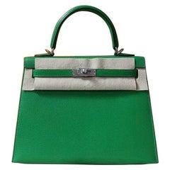 Hermes Kelly 25 Chevre Chamkila Bambou Bag