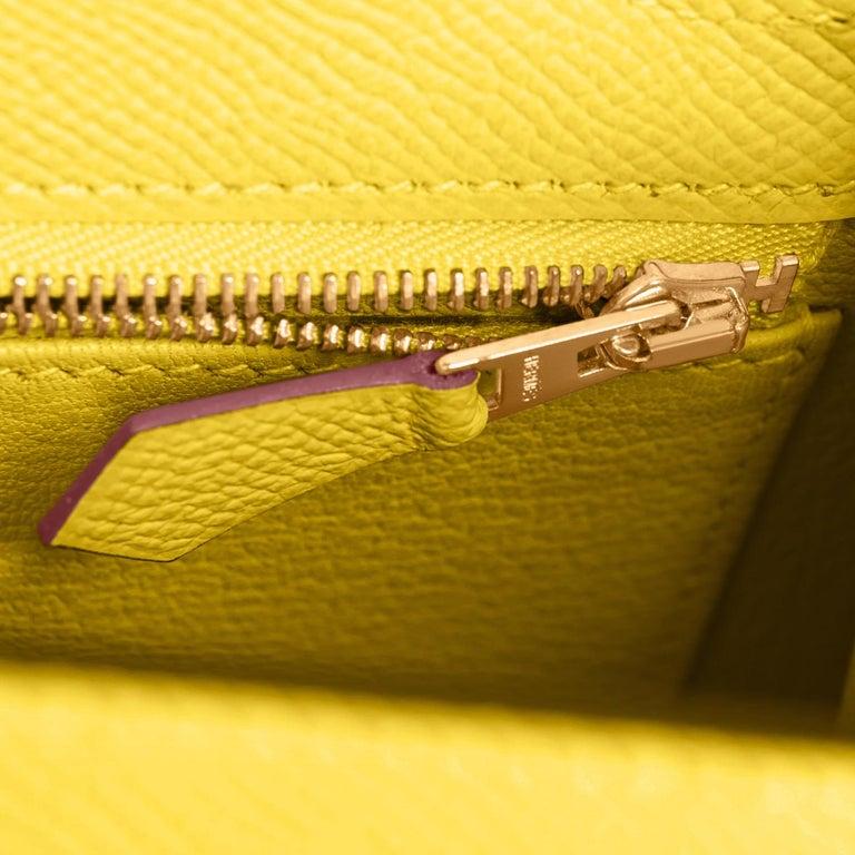 Hermes Kelly 25 Lime  Epsom Sellier Shoulder Bag Gold Y Stamp, 2020 For Sale 4