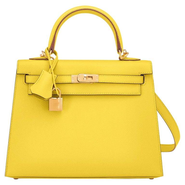Hermes Kelly 25 Lime  Epsom Sellier Shoulder Bag Gold Y Stamp, 2020 For Sale