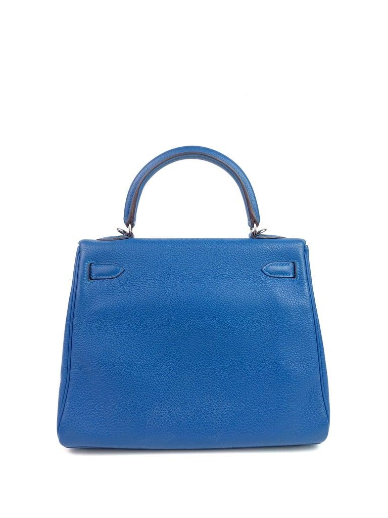 Women's or Men's Hermes Kelly 25 Mykonos Blue Togo Palladium Hardware