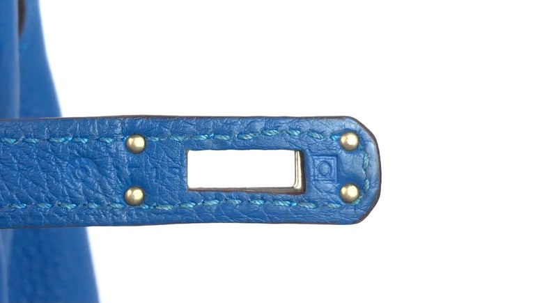 Hermes Kelly 25 Mykonos Blue Togo Palladium Hardware 4