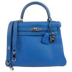 Hermes Kelly 25 Mykonos Blue Togo Palladium Hardware