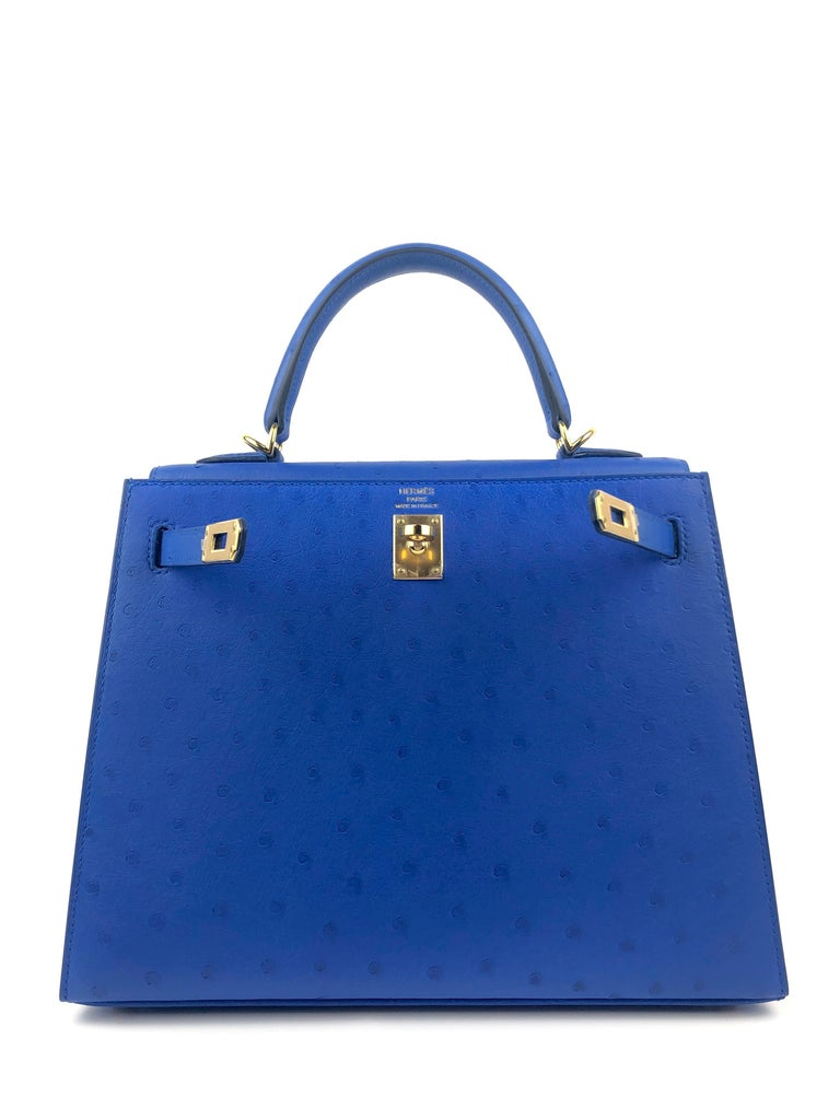 Hermes Kelly 25 Ostrich Bleuet Blue Gold Hardware  In New Condition For Sale In Miami, FL