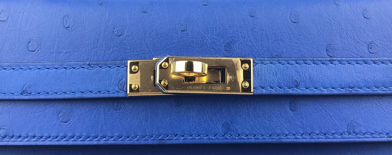 Hermes Kelly 25 Ostrich Bleuet Blue Gold Hardware  For Sale 1