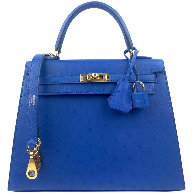 Hermes Kelly 25 Ostrich Bleuet Blue Gold Hardware  For Sale