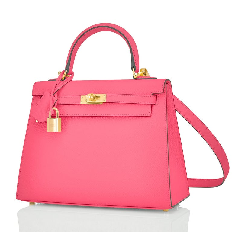 Hermes Kelly 25 Rose Azalee Permabrass Epsom Sellier Shoulder Bag NEW Ultra Rare In New Condition For Sale In New York, NY