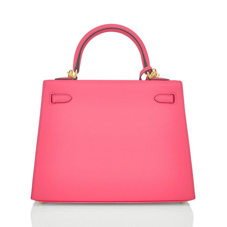 Women's Hermes Kelly 25 Rose Azalee Permabrass Epsom Sellier Shoulder Bag NEW Ultra Rare For Sale