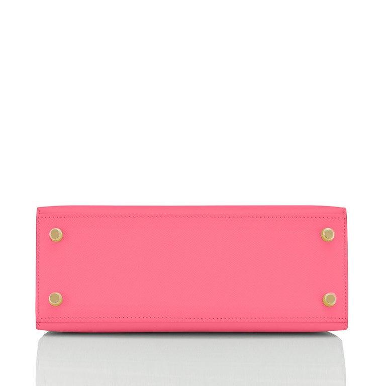 Hermes Kelly 25 Rose Azalee Permabrass Epsom Sellier Shoulder Bag NEW Ultra Rare For Sale 1