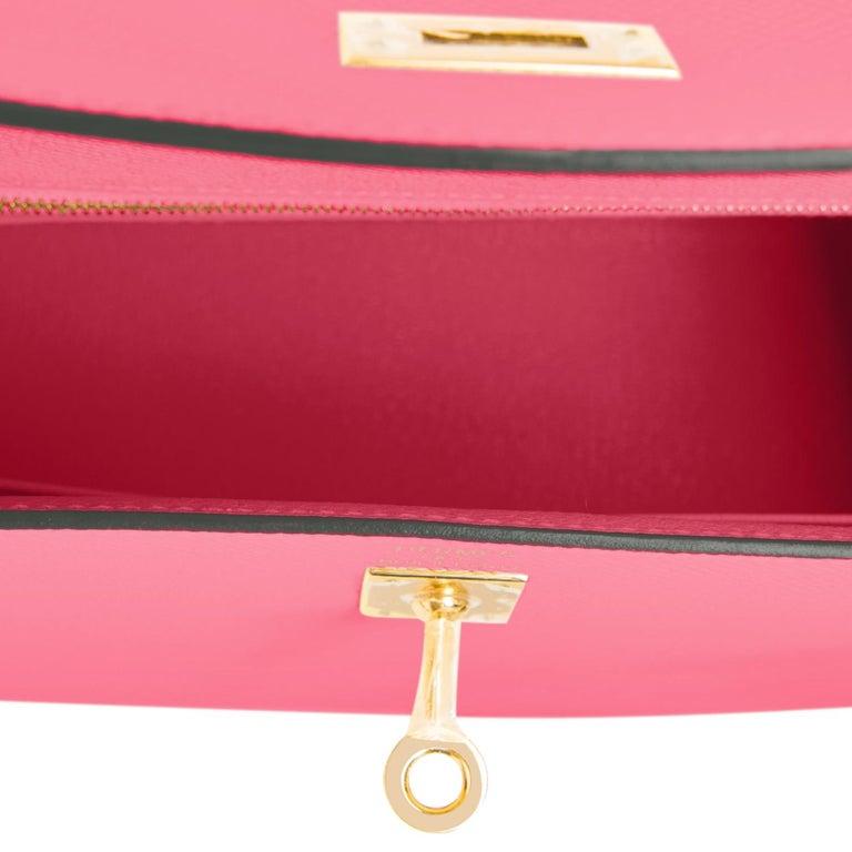 Hermes Kelly 25 Rose Azalee Permabrass Epsom Sellier Shoulder Bag NEW Ultra Rare For Sale 2