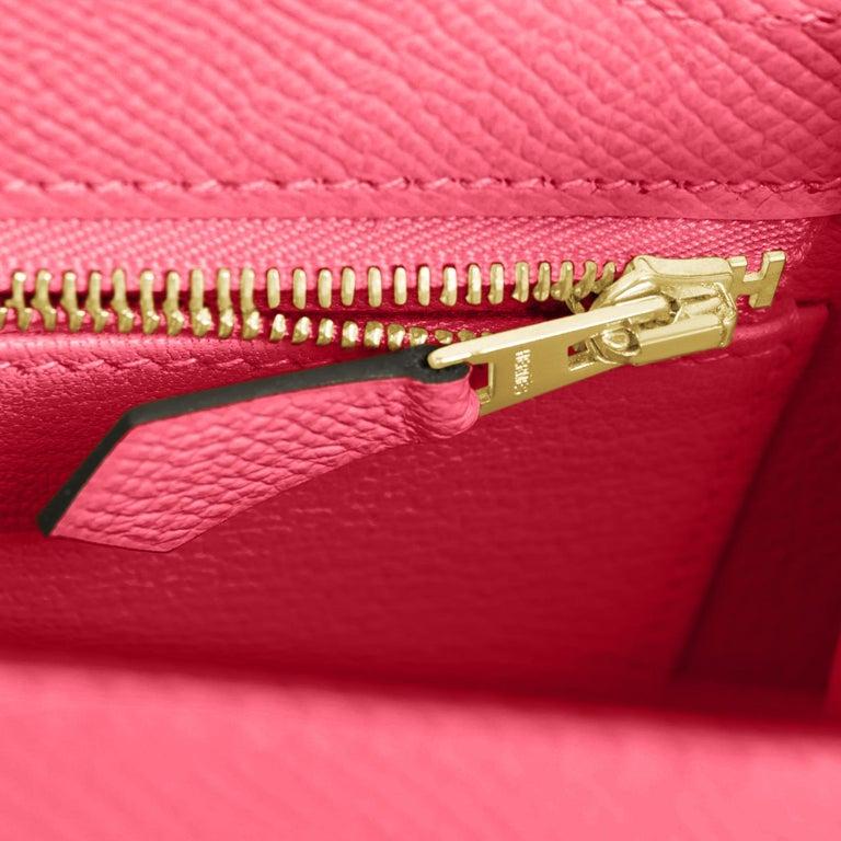 Hermes Kelly 25 Rose Azalee Permabrass Epsom Sellier Shoulder Bag NEW Ultra Rare For Sale 3