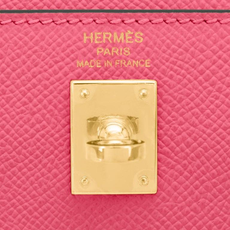Hermes Kelly 25 Rose Azalee Permabrass Epsom Sellier Shoulder Bag NEW Ultra Rare For Sale 4