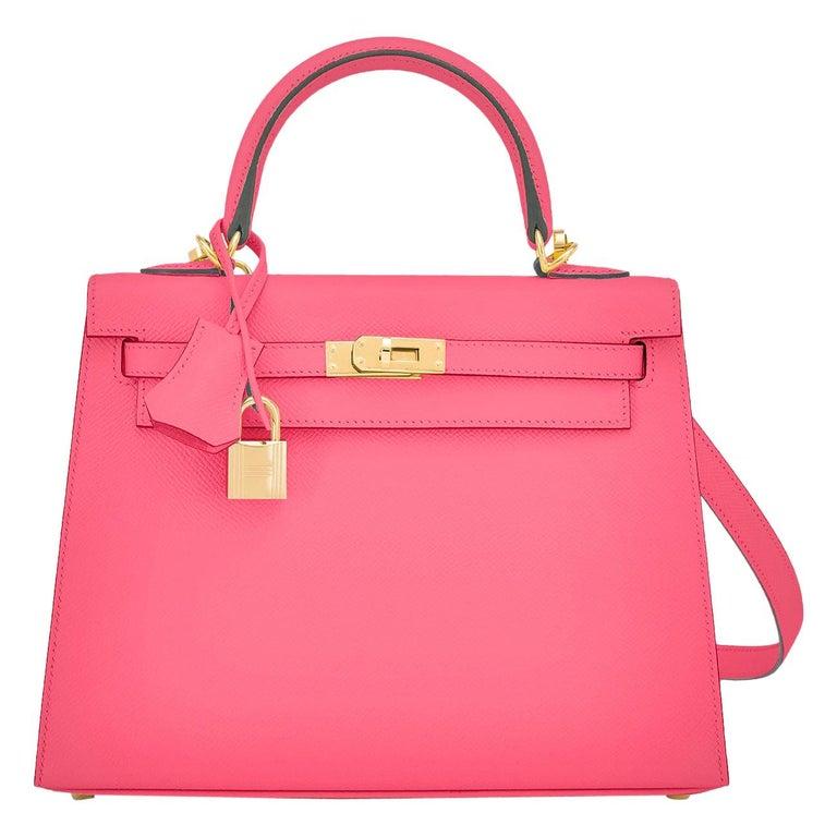 Hermes Kelly 25 Rose Azalee Permabrass Epsom Sellier Shoulder Bag NEW Ultra Rare For Sale