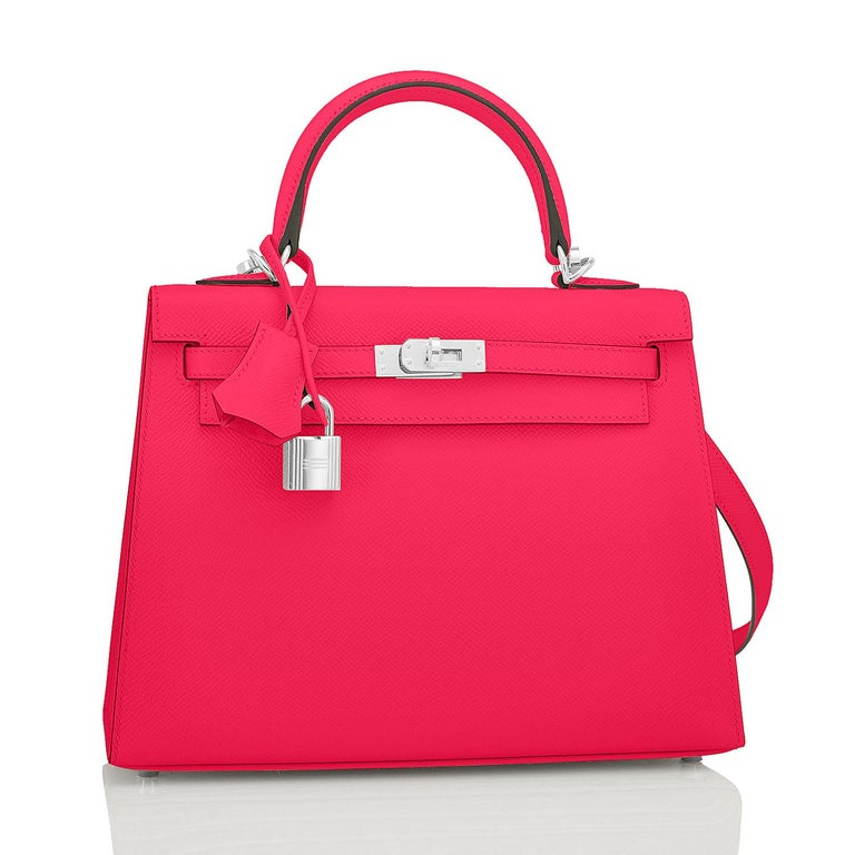 Hermes Kelly 25 Rose Extreme Pink Epsom Sellier Bag Palladium Y Stamp, 2020 Just purchased from Hermes store; bag bears new interior 2020 Stamp. Brand New in Box. Store Fresh. Pristine Condition (with plastic on hardware). Perfect gift! Comes full