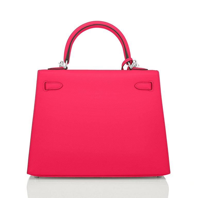 Hermes Kelly 25 Rose Extreme Pink Epsom Sellier Bag Palladium Y Stamp, 2020 In New Condition For Sale In New York, NY
