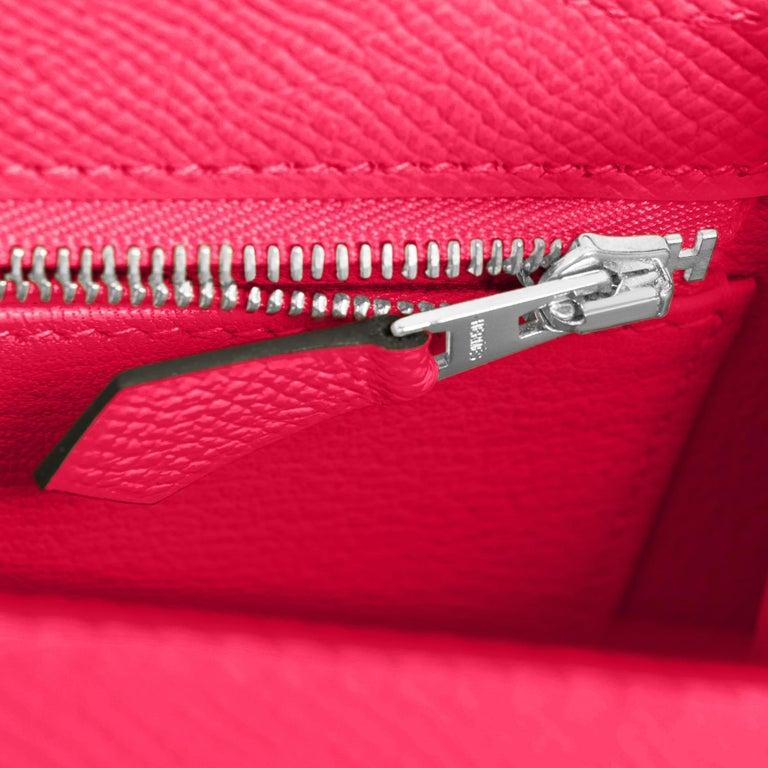 Hermes Kelly 25 Rose Extreme Pink Epsom Sellier Bag Palladium Y Stamp, 2020 For Sale 4