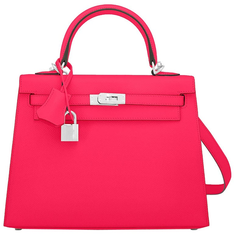Hermes Kelly 25 Rose Extreme Pink Epsom Sellier Bag Palladium Y Stamp, 2020 For Sale