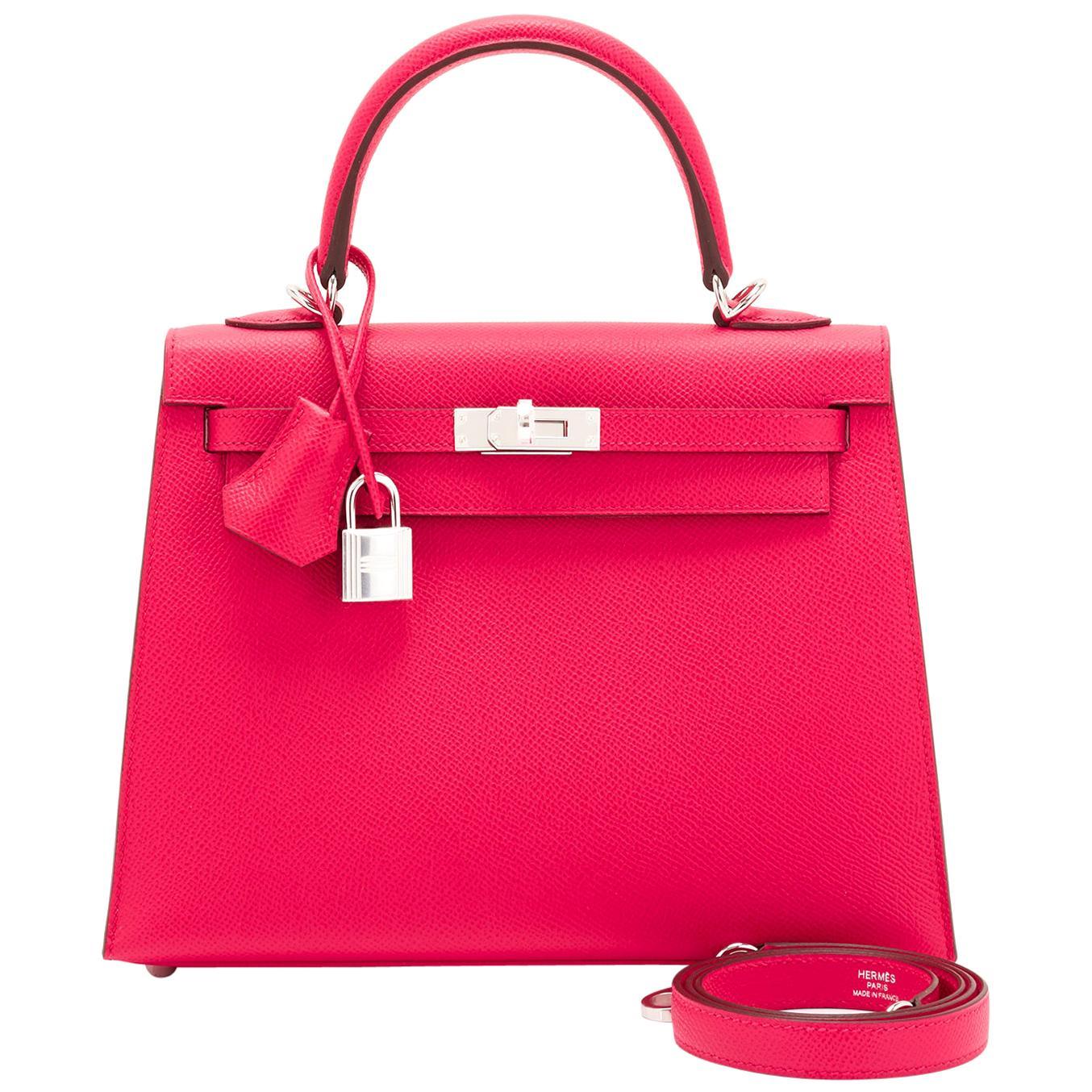 Hermes Kelly 25 Rose Extreme Pink Epsom Sellier Bag Palladium Y Stamp, 2020