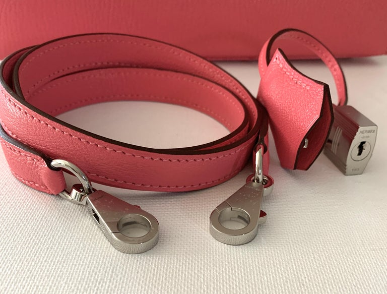 Pink Hermes Kelly 25 Rose Lipstick PInk Chevre Limited Edition Sellier Bag For Sale