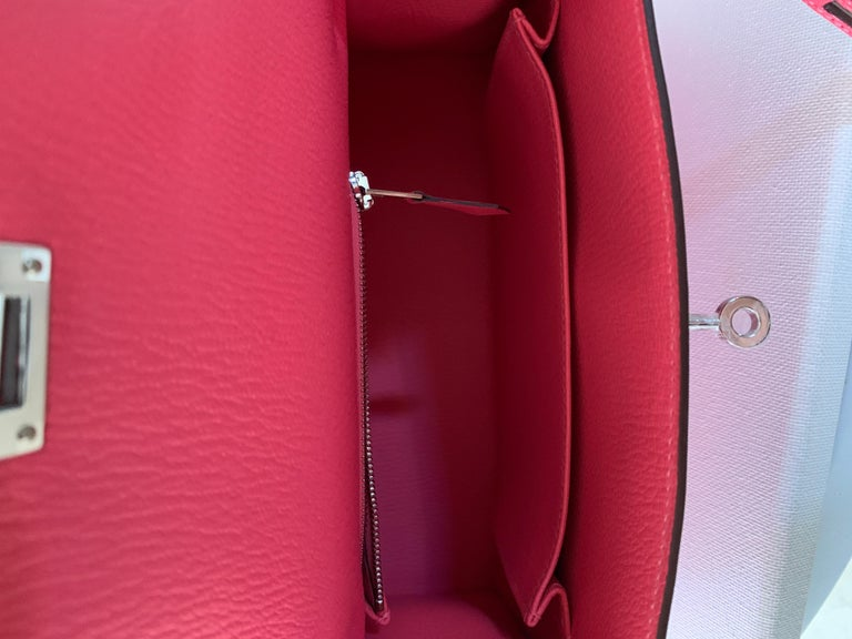 Hermes Kelly 25 Rose Lipstick PInk Chevre Limited Edition Sellier Bag For Sale 2