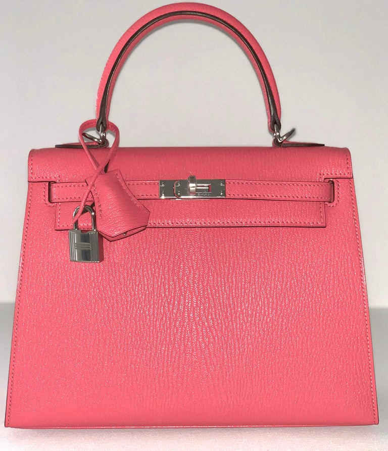 Hermes Kelly 25 Rose Lipstick PInk Chevre Limited Edition Sellier Bag For Sale 4