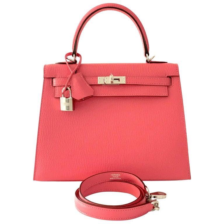 Hermes Kelly 25 Rose Lipstick PInk Chevre Limited Edition Sellier Bag For Sale