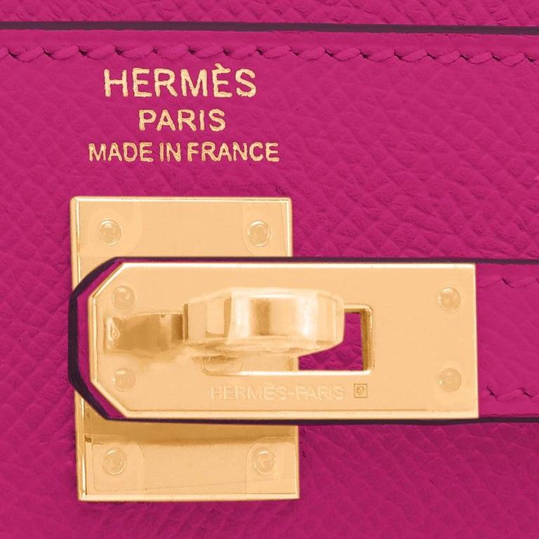 Hermes Kelly 25 Rose Pourpre Pink Epsom Sellier Shoulder Bag Gold Y Stamp, 2020 5