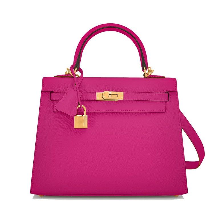 Red Hermes Kelly 25 Rose Pourpre Pink Epsom Sellier Shoulder Bag Gold Y Stamp, 2020