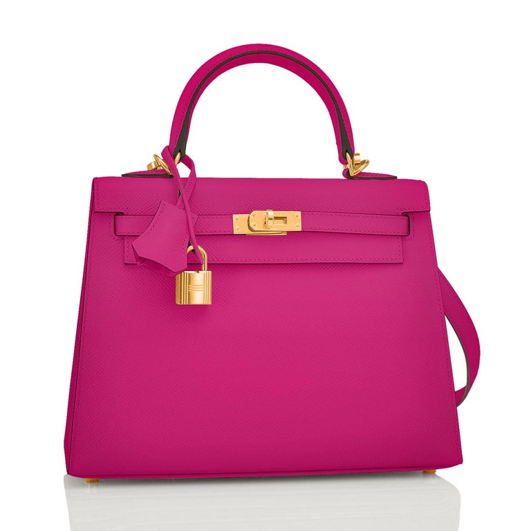 Hermes Kelly 25 Rose Pourpre Pink Epsom Sellier Shoulder Bag Gold Y Stamp, 2020 In New Condition For Sale In New York, NY
