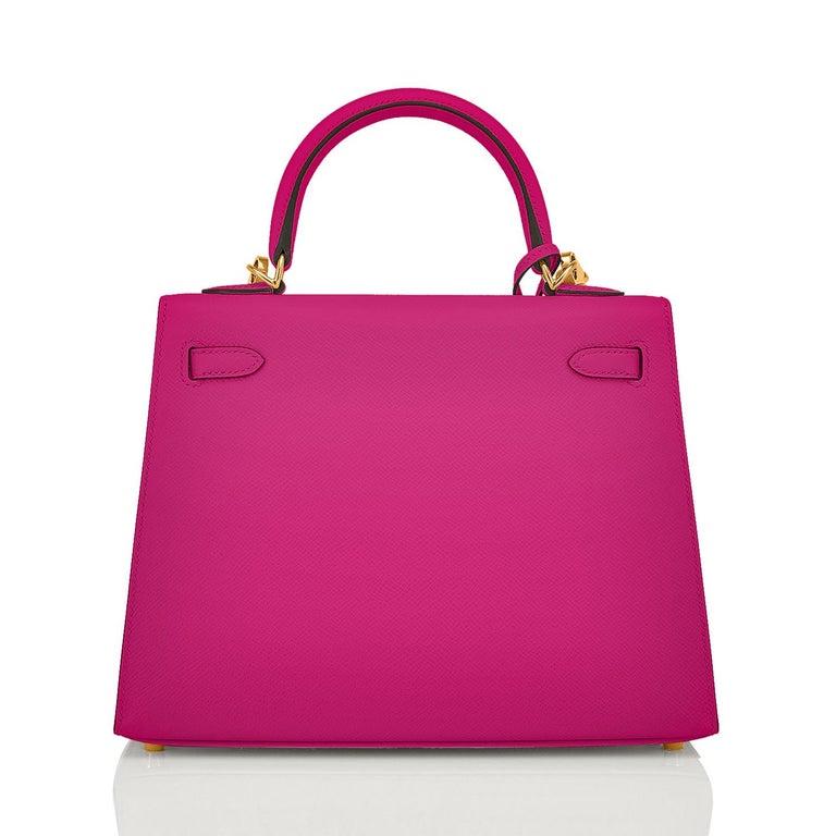 Women's Hermes Kelly 25 Rose Pourpre Pink Epsom Sellier Shoulder Bag Gold Y Stamp, 2020