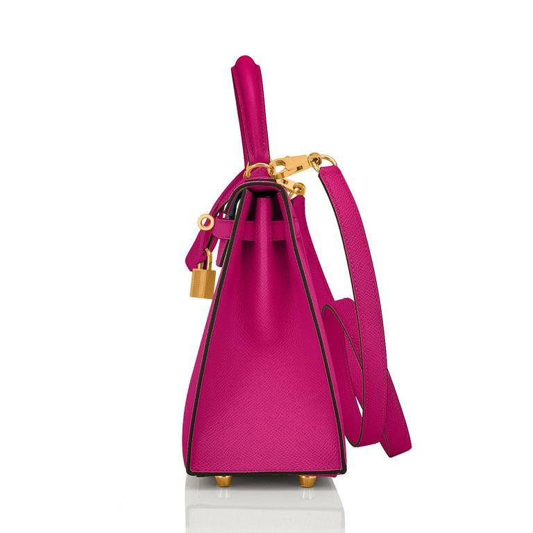 Hermes Kelly 25 Rose Pourpre Pink Epsom Sellier Shoulder Bag Gold Y Stamp, 2020 1