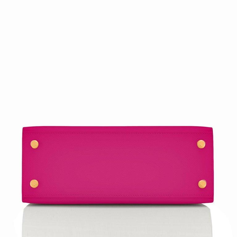 Hermes Kelly 25 Rose Pourpre Pink Epsom Sellier Shoulder Bag Gold Y Stamp, 2020 2