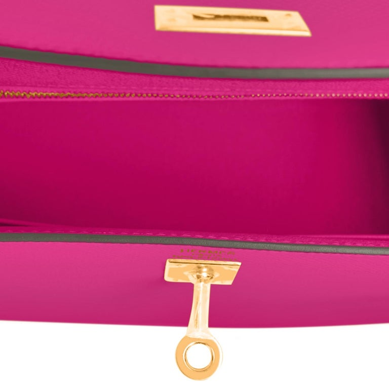 Hermes Kelly 25 Rose Pourpre Pink Epsom Sellier Shoulder Bag Gold Y Stamp, 2020 3