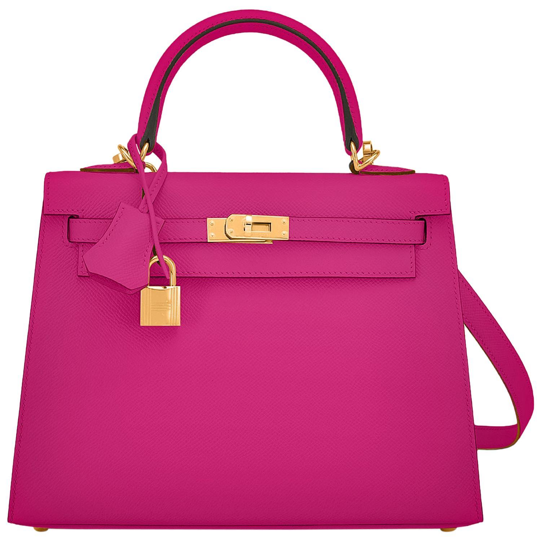 Hermes Kelly 25 Rose Pourpre Pink Epsom Sellier Shoulder Bag Gold Y Stamp, 2020