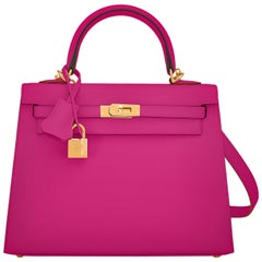 Hermes Kelly 25 Rose Pourpre Pink Epsom Sellier Shoulder Bag Gold Y Stamp, 2020