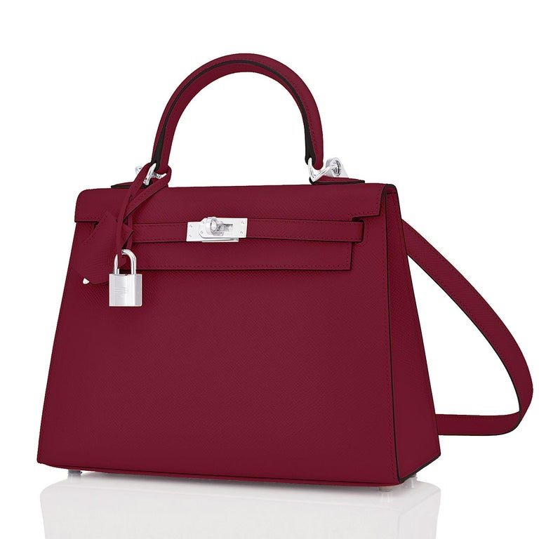 Hermes Kelly 25 Rouge H Hermes Epsom Sellier Y Stamp, 2020 Brand New in Box. Store Fresh. Pristine Condition (with plastic on hardware).  Just purchased from Hermes store; bag bears new interior 2020 Y stamp.  Perfect gift!  Comes full set with