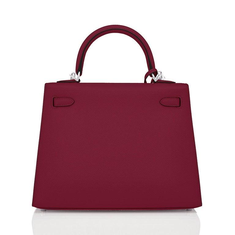 Red Hermes Kelly 25 Rouge H Epsom Sellier Bordeaux Shoulder Bag Y Stamp, 2020 For Sale